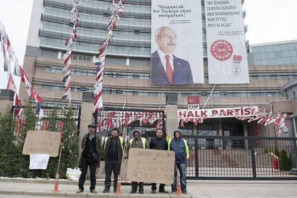 CHP Genel Merkezi önünde işçiler açlık grevine girdi