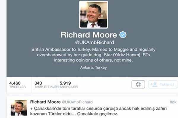 İngiliz Büyükelçi'den Çanakkale Zaferi tweeti