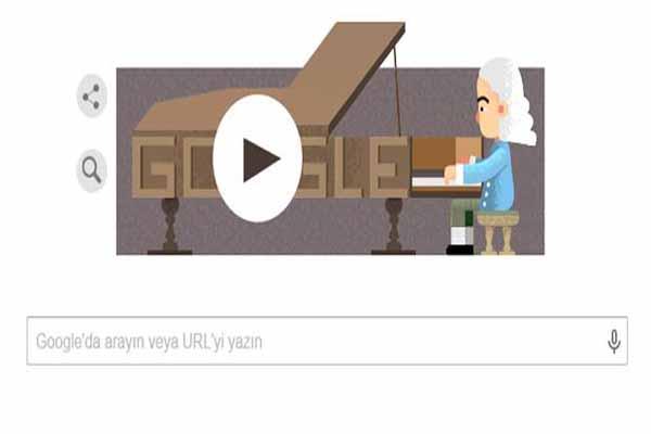 Google'dan piyanoyu icad eden Bartolomeo Cristofori anısına özel bir Doodle