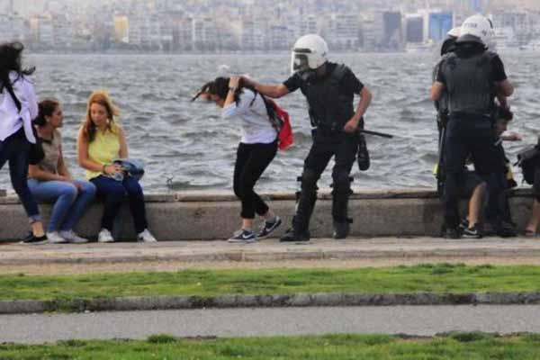 İzmir'de polisin saçını çektiği kızın görüntüleri bulunamadı