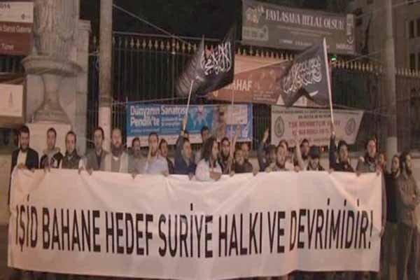 ABD'nin IŞİD'e saldırıları Taksim'de protesto edildi