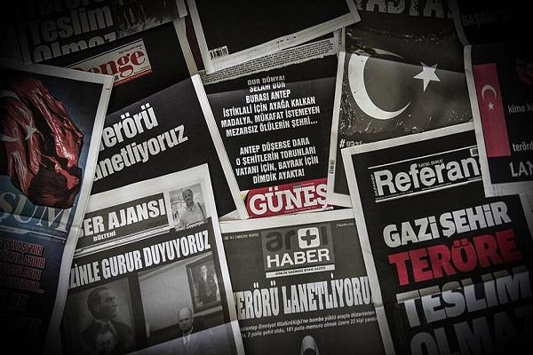 Gaziantep basını teröre tepkisini 'siyah beyaz' gösterdi