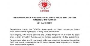 Birleşik Krallık'tan Türkiye'ye doğrudan uçuşla seyahat edilmesine yönelik COVID-19 kısıtlamaları kaldırıldı