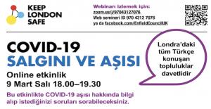 Londra'daki Türk toplumu için COVID-19 aşı bilgilendirme etkinliğine ev sahipliği yapacak.